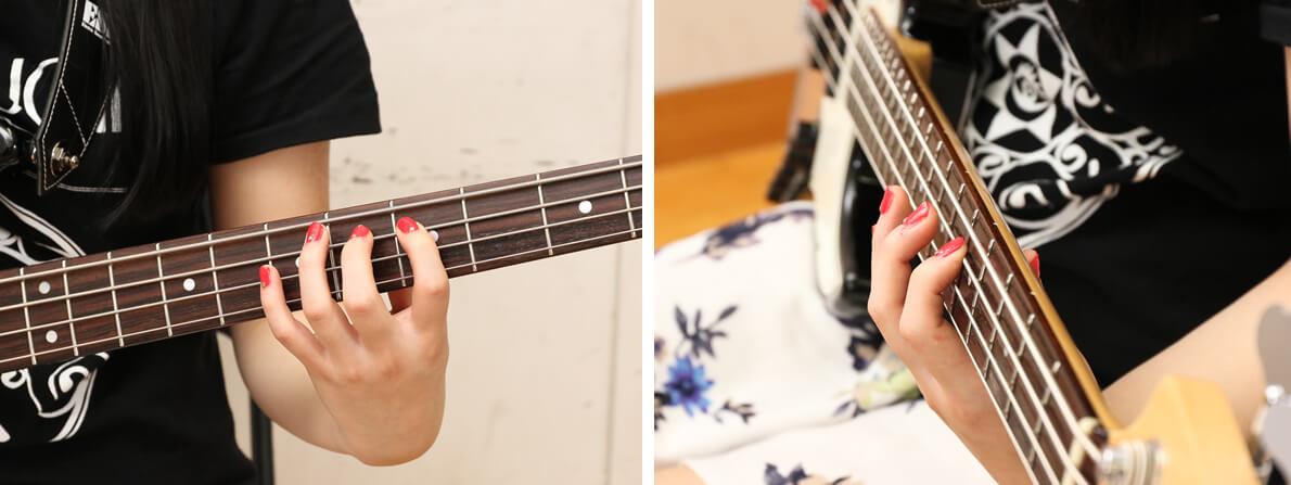 ベース弦を押さえる基本フォーム