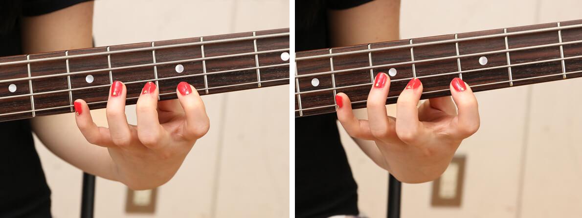 フレット押弦の悪い例